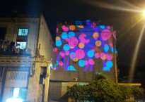 The students' Tagtool drawings projected onto a building in Havana