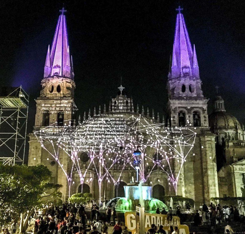 (x)trees data visualization projection at GDLuz Festival Guadalajara Mexico